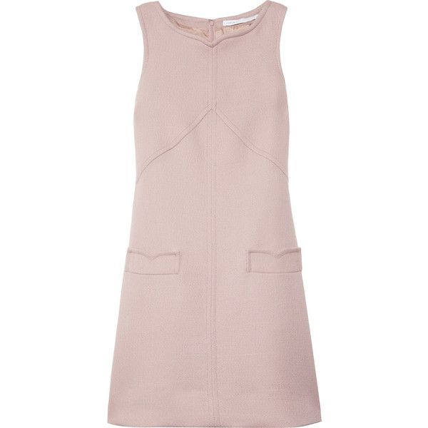 Victoria, Victoria Beckham Wool-blend shift dress ($315) ❤ liked on Polyvore featuring dresses, victoria beckham, blush, petite cocktail dress, petite shift dress, pink cut out dress, pink dress and pink shift dress