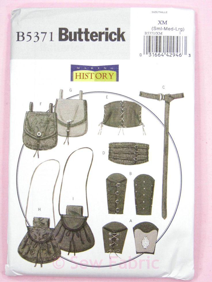 Butterick 5371 Sewing Pattern - Medieval/Archer Bracers, Corset, Belt & Pouches