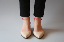 nude with hot pink ankle strap - pointy toe flats.