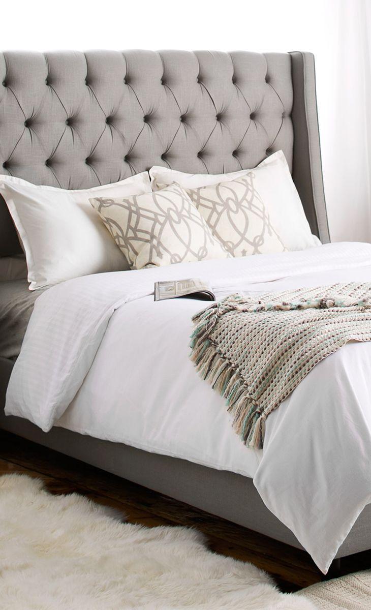best 25 grey tufted headboard ideas on pinterest grey. Black Bedroom Furniture Sets. Home Design Ideas