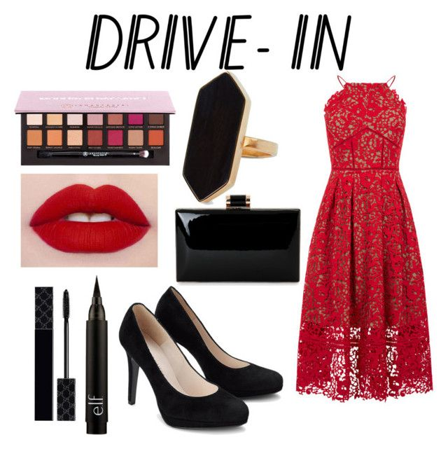 """""""Untitled #78"""" by jana40299 ❤ liked on Polyvore featuring Warehouse, Jaeger, Anastasia Beverly Hills, Gucci, DateNight, drivein and summerdate"""