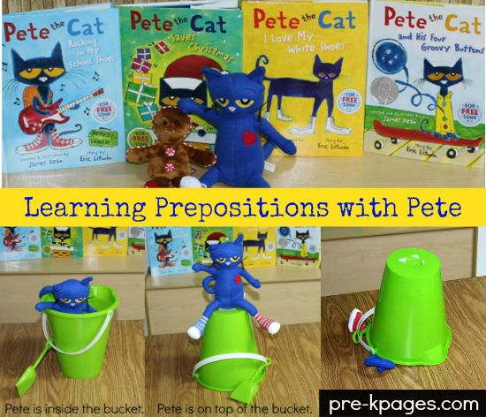 "Learning Prepositions with Pete the Cat. The target structure is from TAGS -2. The objective of this game would be top practice the prepositions NEXT TO (beside), ON, UNDER, IN FRONT, and BEHIND. This game would be most appropriate for preschool students (3-5 age) The teacher would read a book about Pete the cat such as ""Pete the cat and the four groovy buttons,"" play the song, and then use the button and cat to elicit the preposition lesson. Example: The button is behind Pete the cat."
