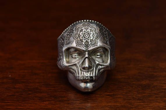 Skull Jewelry, Mens Skull ring. ALL RING SIZES AVAILABLE. Handmade in our goldsmith workshop. Sterling solid silver. Lifetime purchase... of skull art jewelry ring.