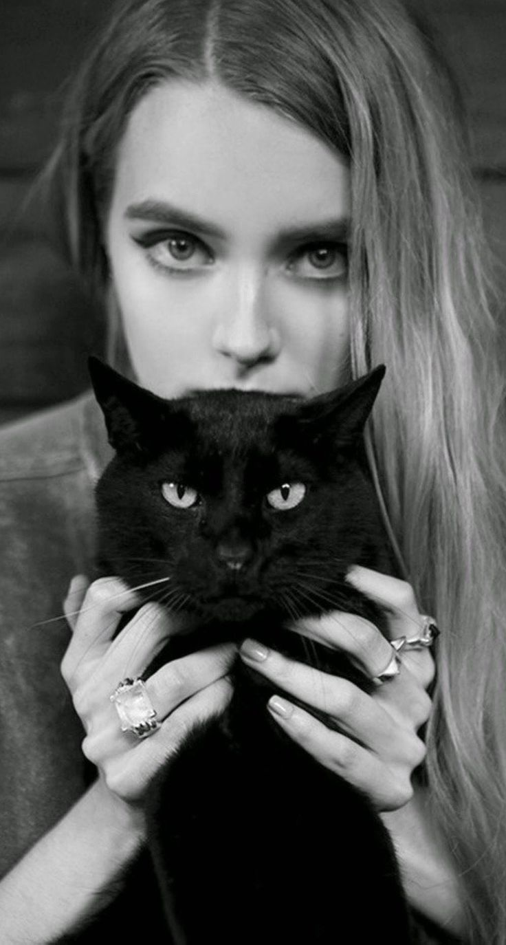 Blonde Girl With Black Cat iPhone 6 Plus HD Wallpaper