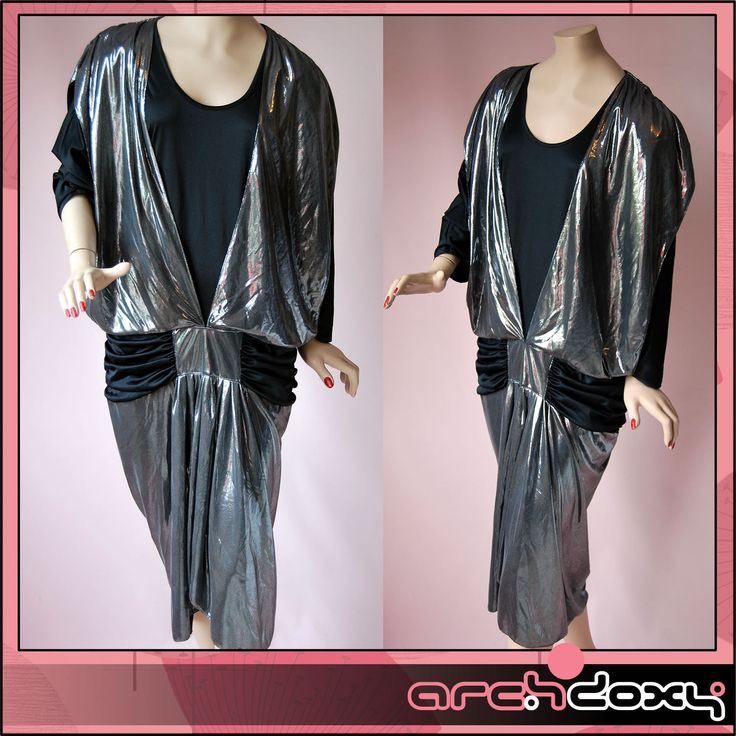 Vintage 80s Glam Rock Metallic Flapper Draped New Wave Dropped Waist Dress UK12  Listed for charity http://www.ebay.co.uk/itm/Vintage-80s-Glam-Rock-Metallic-Flapper-Draped-New-Wave-Dropped-Waist-Dress-UK12-/371632655047