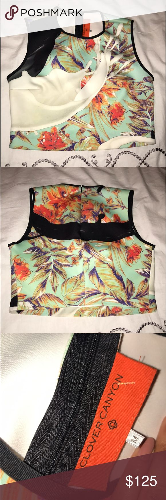 Clover canyon crop top Clover Canyon crop top - never worn - a beautiful blend of tourqouise with a splash on the front and a coral flower print with accents of purple & orange throughout Clover Canyon Tops Crop Tops
