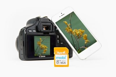 Eye-Fi Wireless SD Card. Automatically syncs photos from your camera to your phone or tablet!! Starts at $30
