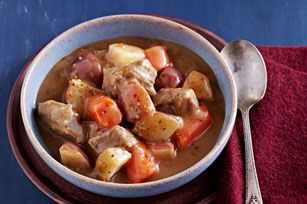 Slow-Cooker Beef Stew recipe -2-1/2 lb. boneless beef chuck roast, cut into 1-inch chunks 1/4 cup A.1. Dry Rubs Garlic & Classic Herb 2 lb. red potatoes (about 6), cut into 1-inch chunks 8 large carrots, cut into 1-inch-thick slices 4 cloves garlic, minced 1 can (14-1/2 oz.) fat-free reduced-sodium beef broth 1/2 cup KRAFT Zesty Italian Dressing 1/3 cup flour 1/3 cup water LOW 8 to 9 hours (or on HIGH 4 to 5 hours). MIX flour and water add after, mix, High 15 mins