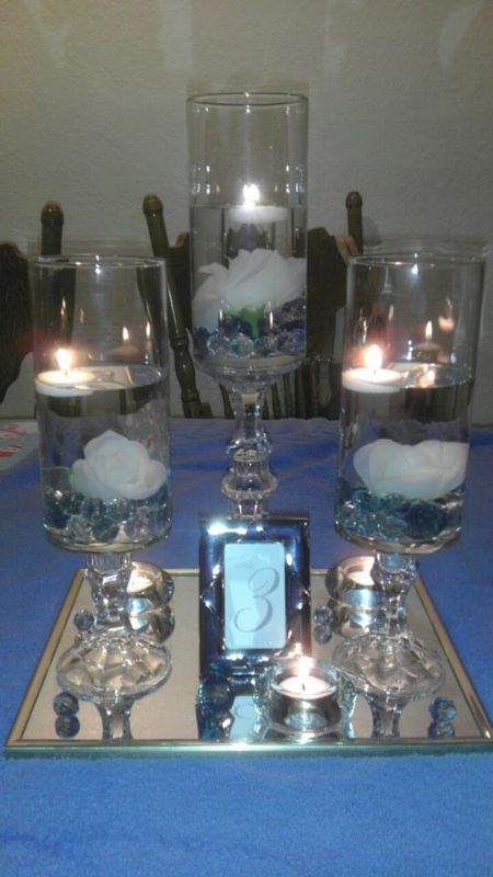 Dollartree centerpieces wedding blue diy ivory navy
