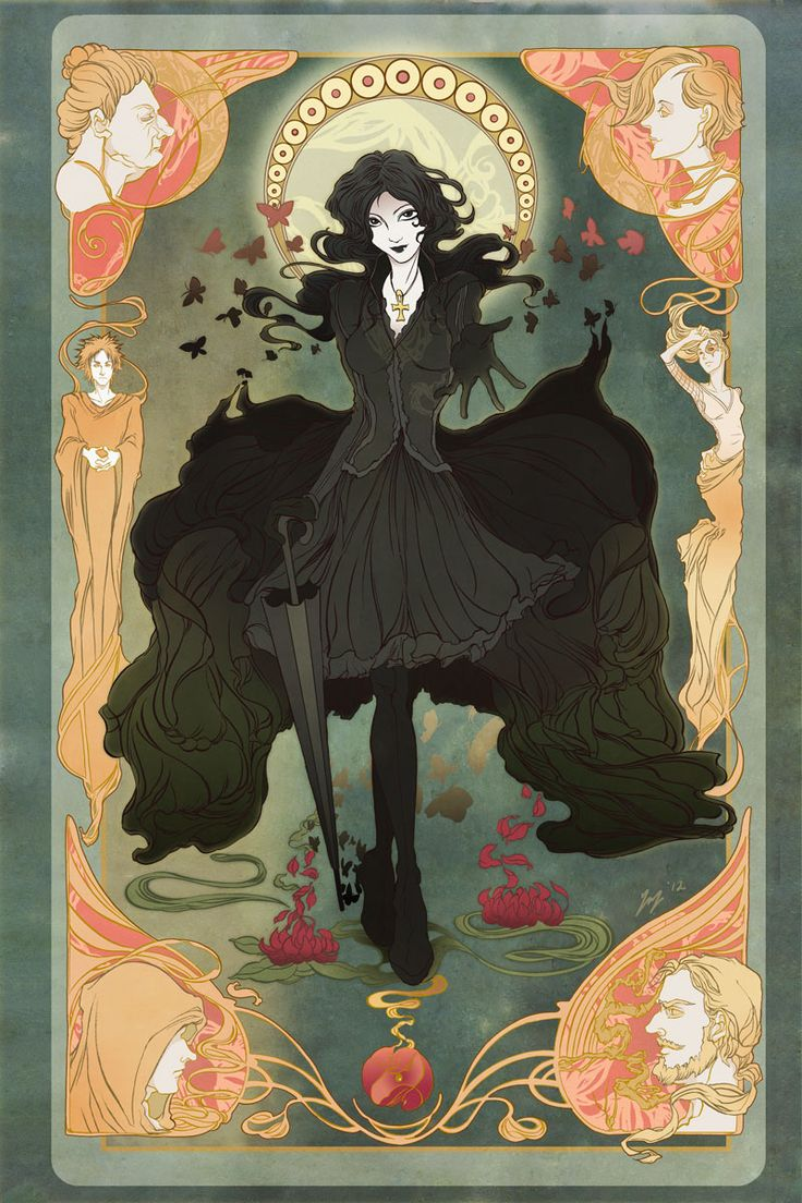 Death from the Endless, Sandman series by ~yienyien: Art Nouveau, Art Inspiration, Death Sandman, Illustration, Endless, Sandman Series, Neil Gaiman