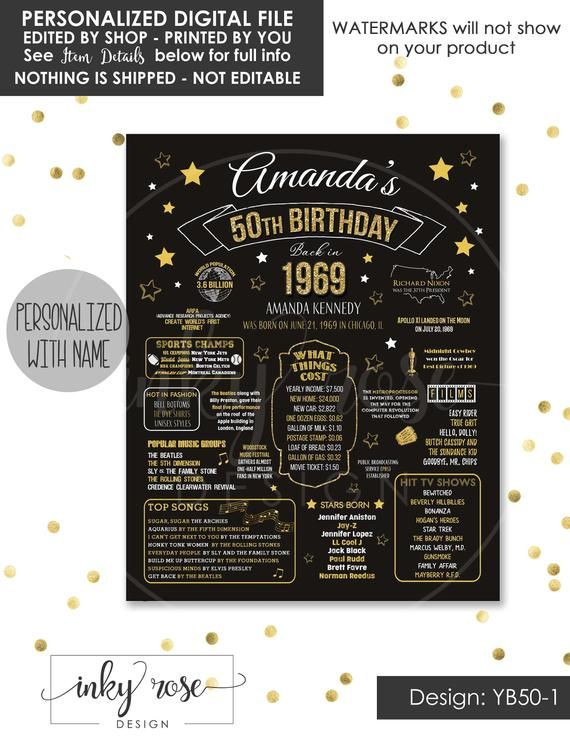 34079a2cab0b3 50th Birthday INSTANT DOWNLOAD Poster 1969 Sign 50th Birthday