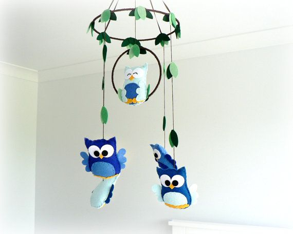 Woodland owl mobile - baby mobile - You pick your colors - blue, green and brown - Nursery decor via Etsy