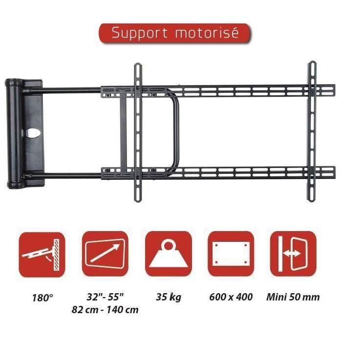 """INOTEK MTM 3255 Support TV mural motorisé - Convient aux écrans de 32"""" (82cm) à 55"""" (140cm) - Support pour écrans PLASMA / LED / LCD - Poids maximum supporté : 35Kg ..."""