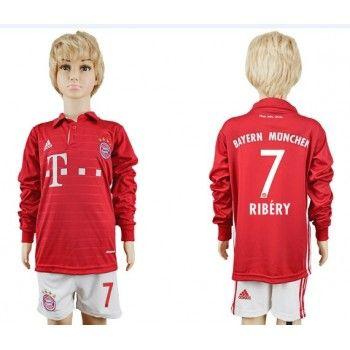 Kinder Fussball Trikot Bayern Munich 2016-17 Ribery 7 Heim Trikotsatz langarm