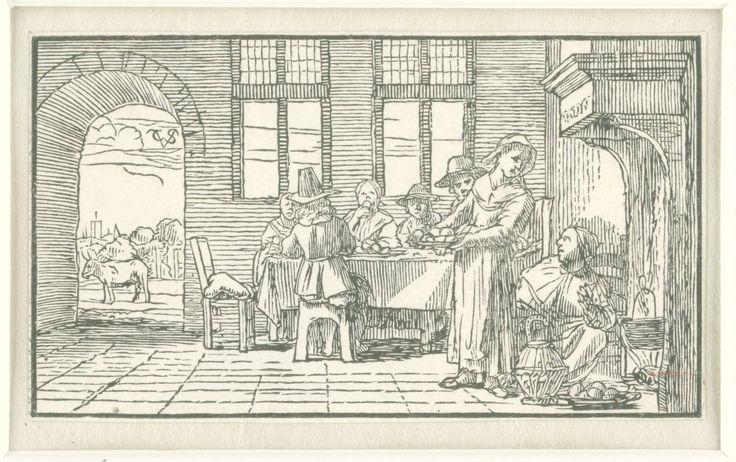 Christoffel van Sichem (IV) | April, Christoffel van Sichem (IV), 1652 - 1718 | De viering van Pasen. Vijf figuren zitten aan een tafel eieren te eten. Rechts zit een vrouw op haar knieën stoofpot klaar te maken. Een tweede vrouw heeft een volle schotel voor de gasten in haar handen. Op de achtergrond staat een stier.