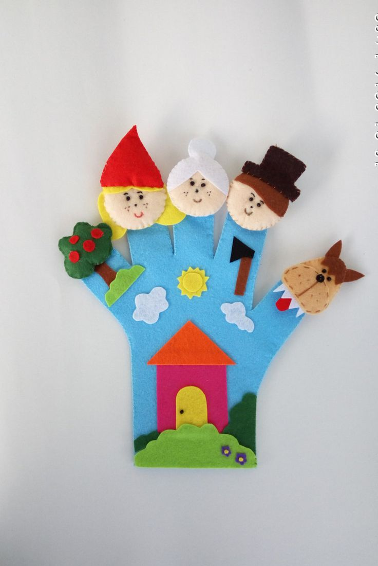 Little Red Riding Hoo finger puppet, hand puppet, glove puppet, fairy tale, wolf, puppet, baby toy, toddler toy, busy toy, educational toy by MomsMagicHands on Etsy