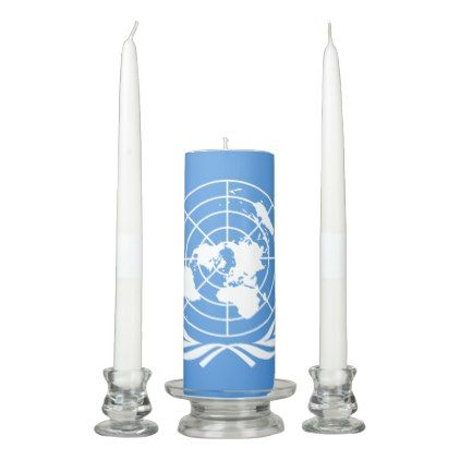 #UN Flag Unity Candle Set - #candle #candles #special #custom