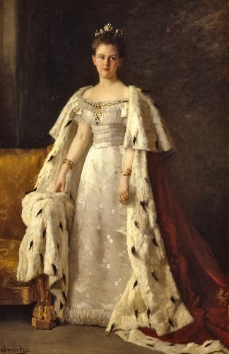 Portrait of Wilhelmina, queen of the Netherlands (1880-1962), Thérèse Schwartze, 1897-1898, oil on canvas, Paleis Het Loo Nationaal Museum.