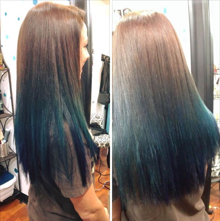blue dip dye on brunette by becky martinez lovely locks