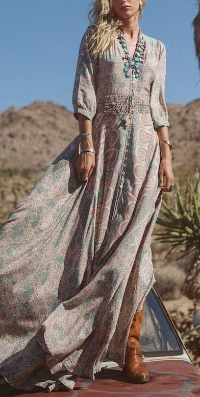 fee3b8048b41 Boho Maxi Dress Floral Chiffon