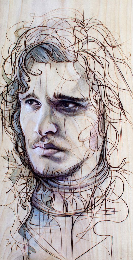 Jon Snow by Fay Helfer (pyrography and pastel on wood.)