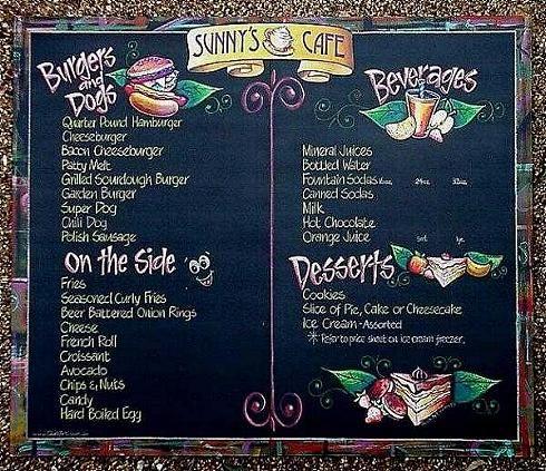 restaurant chalkboard art chalk art menu boards  sunny