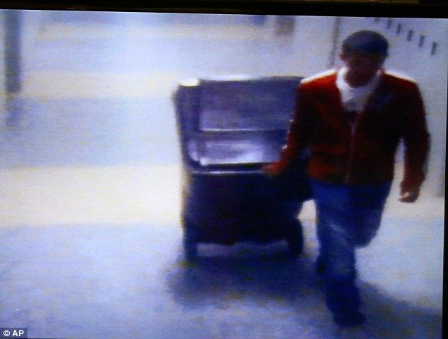 Chilling:Philip Chism is seen in surveillance footage dragging the body of his teacher Co...
