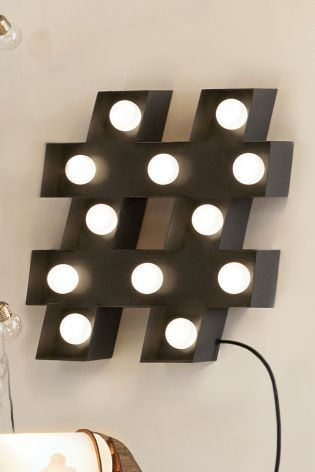 Buy led large hashtag feature light from the next uk for Interior design hashtags