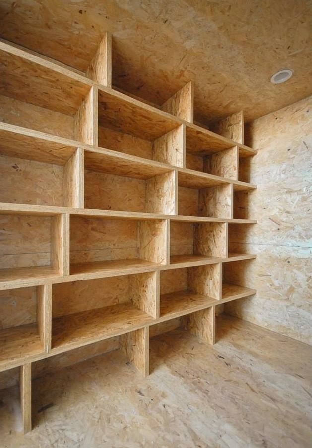 Storage wall from Oriented Strand Board