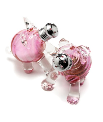 Glass Pig Salt and Pepper Shakers
