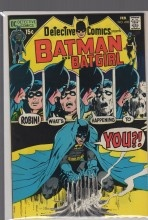 """DETECTIVE COMICS #408-VF/NM DC COMICS 1971....Batman and Robin star in """"The House That Haunted Batman!"""" Cameos by Superman, Flash, Green Lantern, Green Arrow, and Hawkman. Script by Len Wein and Marv Wolfman, pencils by Neal Adams, inks by Dick Giordano. Batgirl back-up story, """"Batgirl vs. the Phantom Bullfighter!"""" Script by Frank Robbins, pencils by Don Heck, inks by Dick Giordno. Adams cover."""