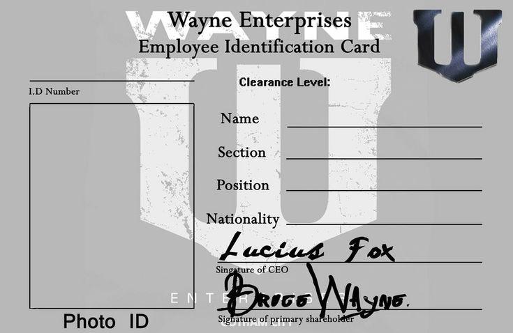 Wayne Enterprises Identification Card