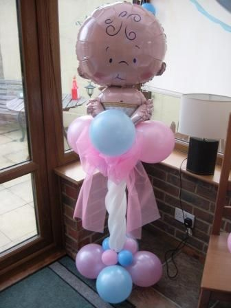 Gender revealing baby balloon decoration