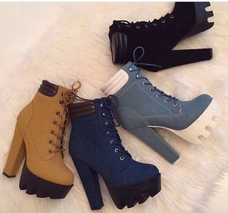 black timberland high heels