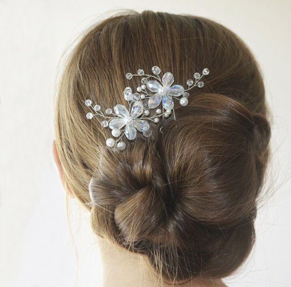 Flower Hair Pins, Wedding Hairpin, Bridal Flower Headpiece, Pearl Hairpiece…