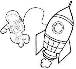 Okul Oncesi Uzay Roket Ve Astronot Boyama Astronot Boyama