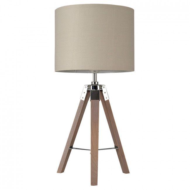 Nautical Style U0027Marineu0027 Wooden Tripod Table Lamp With Coloured Drum Shade    Cream