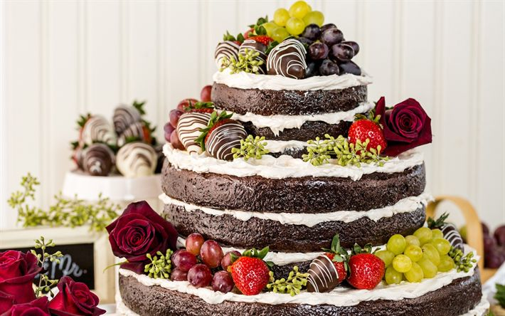 Download wallpapers wedding cake, fruit, chocolate multi-tiered cake, wedding concepts, sweets, baked goods