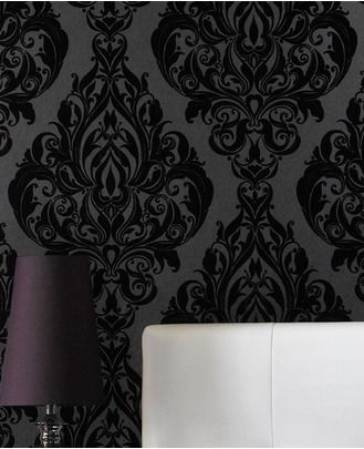 Kinky Vintage flock - Black - Wallpaper Inn Store