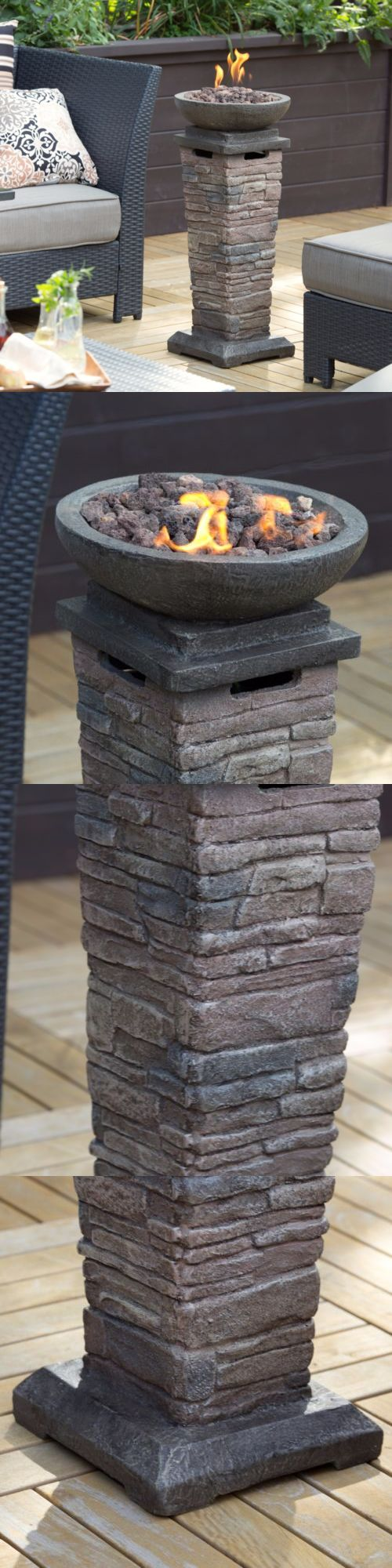Fire Pits and Chimineas 85916: Patio Fire Pit Propane Gas Heater Burner Column Firepit Resin Stone Deck New -> BUY IT NOW ONLY: $151.94 on eBay!