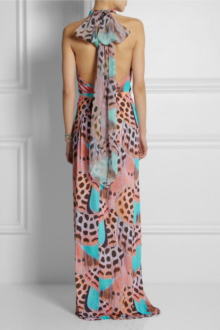 Matthew Williamson Woman Wrap-effect Printed Silk-chiffon Gown Mint Size 14 Matthew Williamson Buy Cheap 2018 Fast Delivery Fake Online UO50TN
