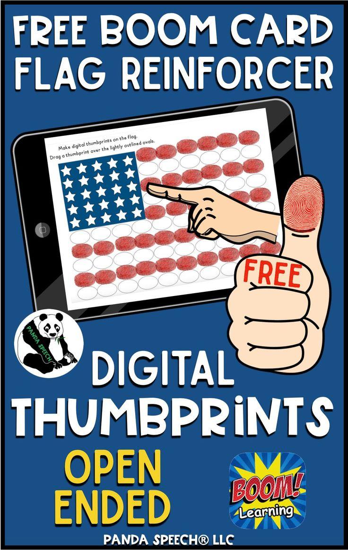 Free digital thumbprint flag reinforcer boom cards in 2020