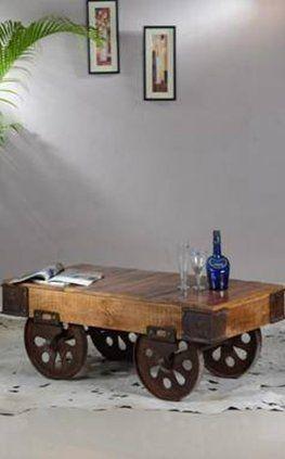 Mesa de centro con ruedas metalicas              Art 5200 120x60x40cm