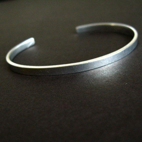 Plain Skinny Sterling Silver Cuff Bracelet
