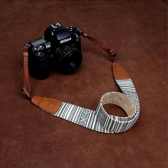 Camin   Stripe Nikon Canon Stripe  Handmade by cameraleatherbelt, $28.00