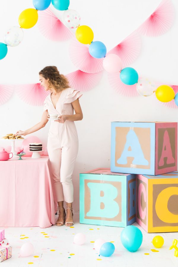 Giant Baby Block Decorations - these would make an adorable backdrop for baby photos