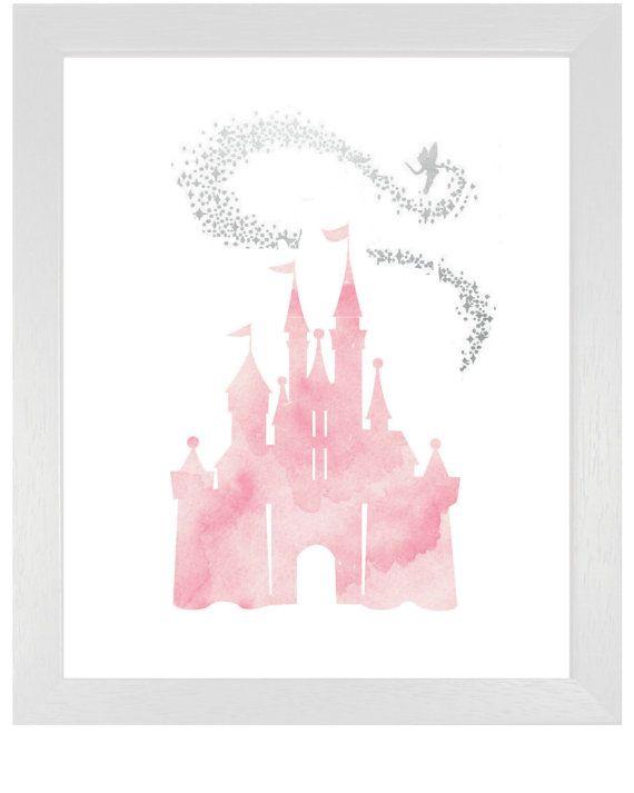 Roze Cinderella kasteel met Tinkerbell, DIY afdrukbare roze aquarel prinses kasteel sprookje Disney Art Print foto, meisjes kinderkamer kunst