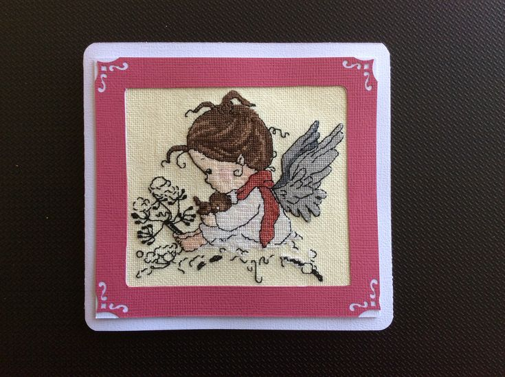 Cross Stitch, girls Birthday Card, made by Karen Miniaci