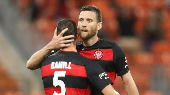 HAL.1 Sun. 08.10.17 Spotless Stadium WSW (2) 2 P.Glory (0) 1 Brendan Hamill and Robert Cornthwaite celebrate the first ever opening round win for the Wanderers. Oriol Riera 43 Jumpei Kusukami 46 were the scorers in front of 12,223.