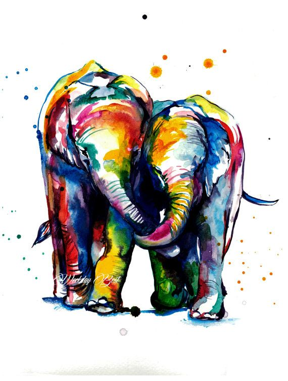 Two Elephants Holding Trunks -Colorful print of original watercolor painting - bright nursery decor